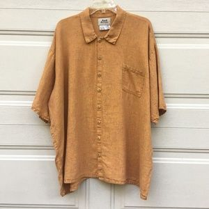 Flax Shirt 1G Linen Button-Down Orange Oversized